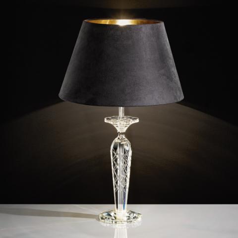 eglo tischleuchte pasiano kristall stahl klar chrom textil schwar. Black Bedroom Furniture Sets. Home Design Ideas